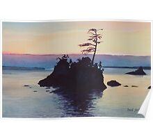 """Sunset Rockaway Beach"" Watercolor Poster"
