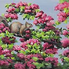 Squirrel in the Blossoms by Karen Ilari