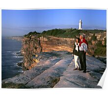 Middle age couple, dawn, Cliff tops Poster