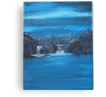 twin falls in blue series Canvas Print