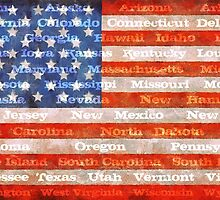 American Flag with States by Michelle Calkins