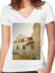 Lighthouse and Beach Grass Women's Fitted V-Neck T-Shirt