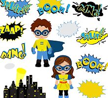 Colorful cartoon text captions.  Super Boy and Super Girl. by Sandytov