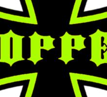 Chopper Maltese Cross Design Lime Green Sticker