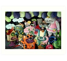 Yeti and Monsters having a party! Art Print