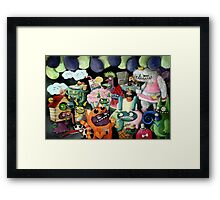 Yeti and Monsters having a party! Framed Print