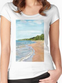 Peaceful Beach Women's Fitted Scoop T-Shirt