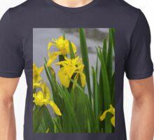 Find The Damselfly among the Yellow Irises.. Unisex T-Shirt