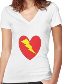 charged heart Women's Fitted V-Neck T-Shirt