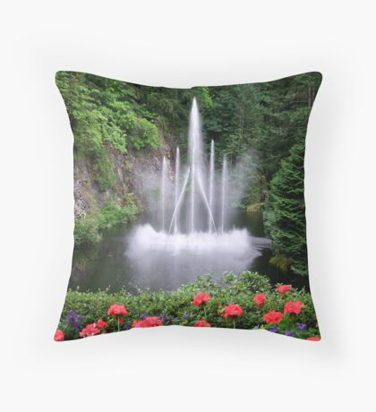 Flowers and the Fountain Throw Pillow