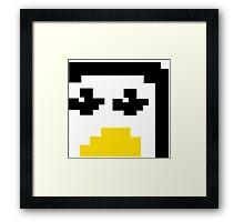 LINUX TUX PENGUIN PIXEL FACE  Framed Print