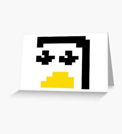 LINUX TUX PENGUIN PIXEL FACE  Greeting Card