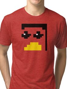 LINUX TUX PENGUIN PIXEL FACE  Tri-blend T-Shirt