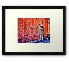 Red Wall With Graffiti Framed Print