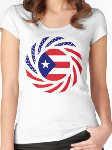 Puerto Rican American Multinational Patriot Flag Series Women's Fitted Scoop T-Shirt