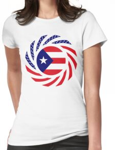 Puerto Rican American Multinational Patriot Flag Series Womens Fitted T-Shirt