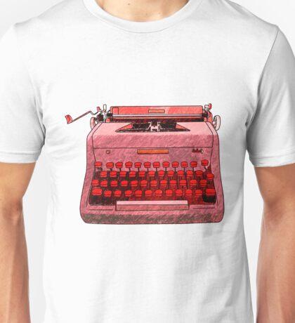 Red Hand Drawn Typewriter Seamless Design Unisex T-Shirt