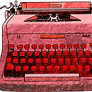 Red Hand Drawn Typewriter Seamless Design by Stacey Lynn Payne
