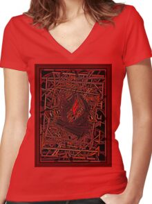 FIRE ABSTRACT Women's Fitted V-Neck T-Shirt