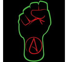 Black Atheist Power Fist  Photographic Print