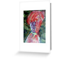 Red Woman Portrait Greeting Card