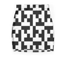 Black And White Tetris Blocks Mini Skirt
