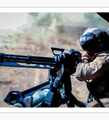 The Gunner - Digital Art / Helicopter Gunner - War / Military Sticker