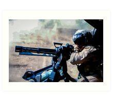 The Gunner - Digital Art / Helicopter Gunner - War / Military Art Print