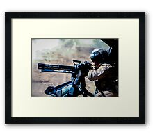 The Gunner - Digital Art / Helicopter Gunner - War / Military Framed Print
