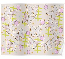 Butterfly and tulips Poster