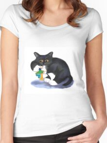 Kitty dangles a Flower Fairy Upside Down Women's Fitted Scoop T-Shirt