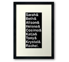 ORPHAN BLACK Helvetica Name List Framed Print