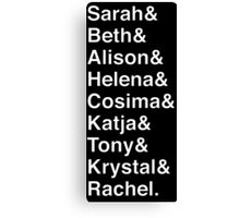 ORPHAN BLACK Helvetica Name List Canvas Print