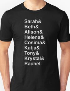 ORPHAN BLACK Helvetica Name List T-Shirt