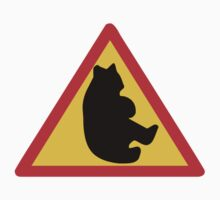 WARNING BEAR ON THE ROAD SIGN Kids Clothes