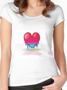 multicolored heart dripping Women's Fitted Scoop T-Shirt