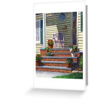 Porch with Pots of Geraniums Greeting Card
