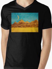 Mojave Moonrise original painting Mens V-Neck T-Shirt