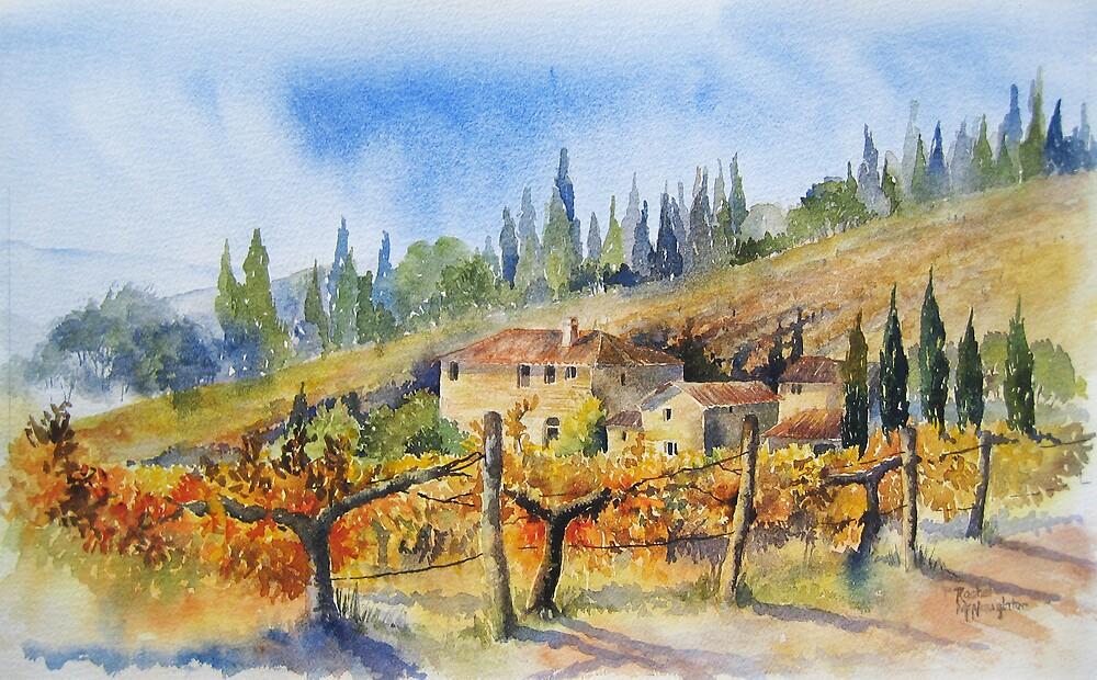 Autumn in the Vineyard Tuscany by artbyrachel