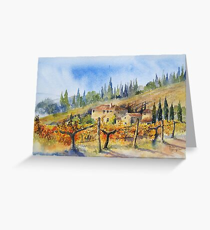 Autumn in the Vineyard Tuscany Greeting Card