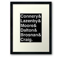 JAMES BOND Helvetica Names List Framed Print