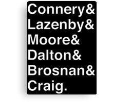 JAMES BOND Helvetica Names List Canvas Print
