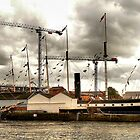 The Ketch 'Irene' alongside the 'SS Great Britain'. Bristol Docks. by Clive Lewis-Hopkins.