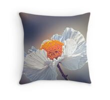 Beautiful white wild flower with a yellow center Throw Pillow