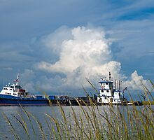 Boats on Bayou Lafourche by Bonnie T.  Barry