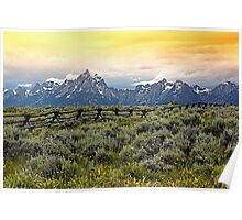 Grand Tetons and a Fence Poster