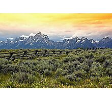 Grand Tetons and a Fence Photographic Print