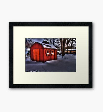 Red Barn, White Snow Framed Print