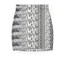 Love & Peace Doodle Border Mini Skirt
