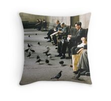 Feeding pigeons British Museum 19570831 0003 Throw Pillow